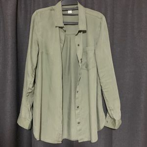 Old Navy Long Sleeve Army Green Button Up